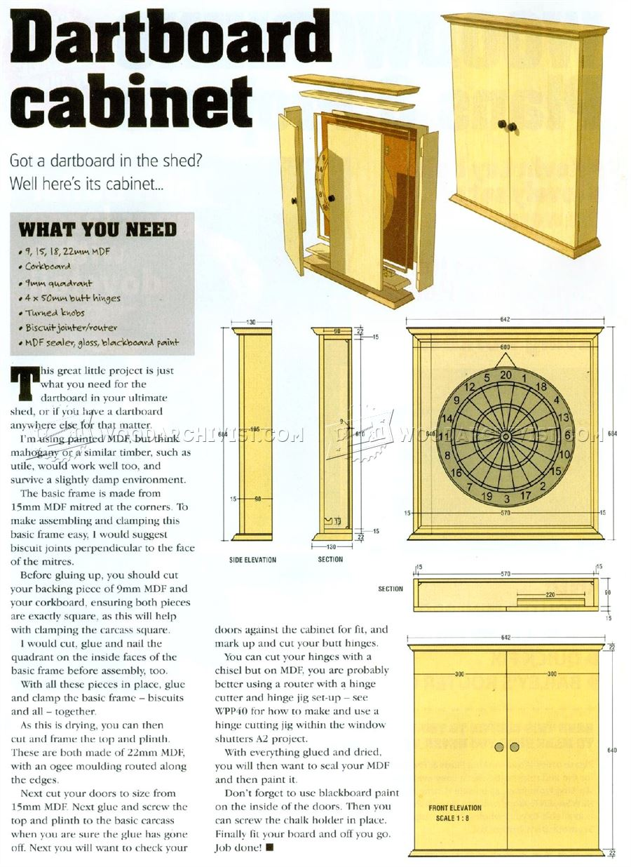 103 Dartboard Cabinet Plans - Woodworking Plans