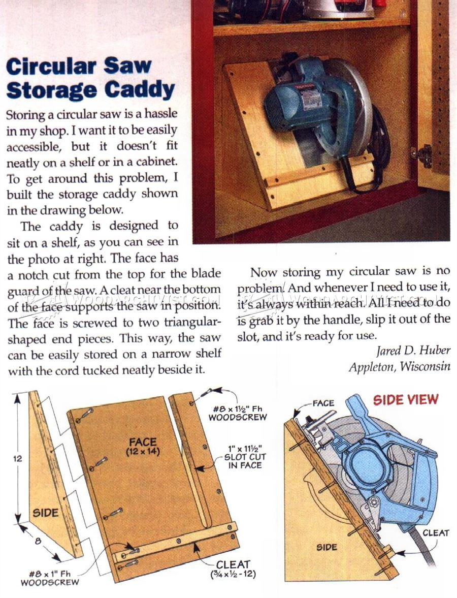 Circular Saw Storage Caddy WoodArchivist