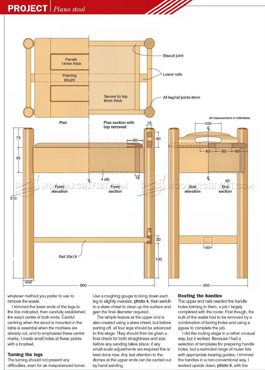 Blueprints For A Modern Four Bedroom Home: Piano Stool Plans • WoodArchivist