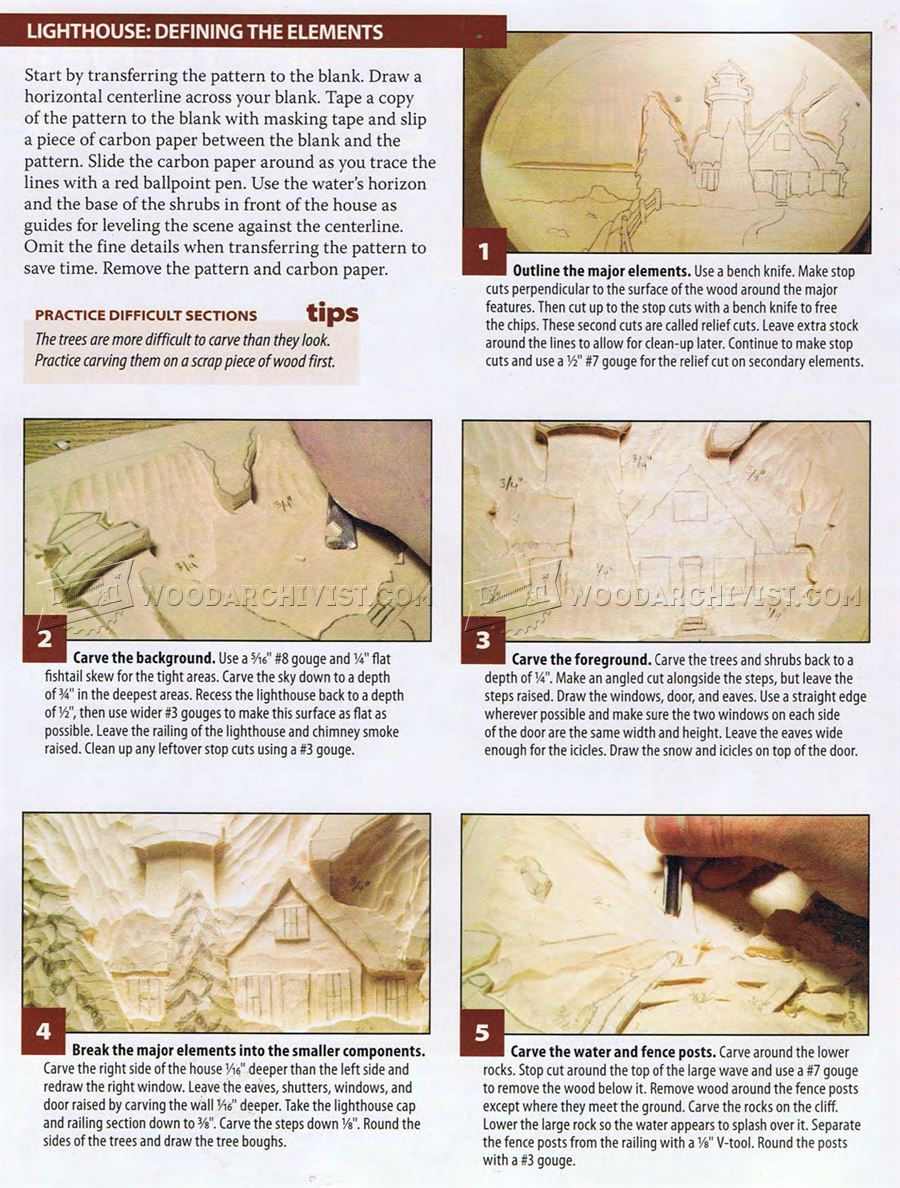 Relief carving patterns winter lighthouse woodarchivist