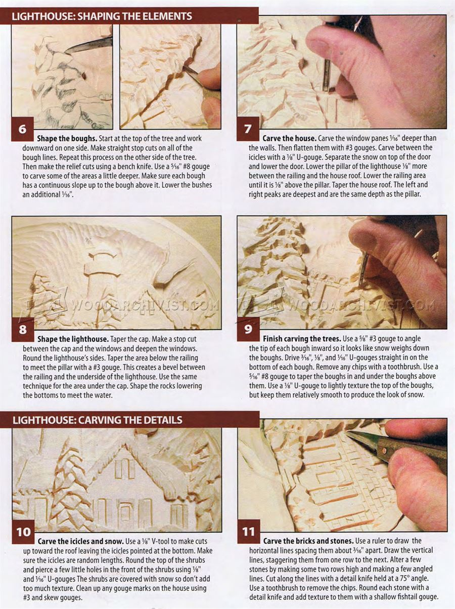 Relief Carving Patterns - Winter Lighthouse