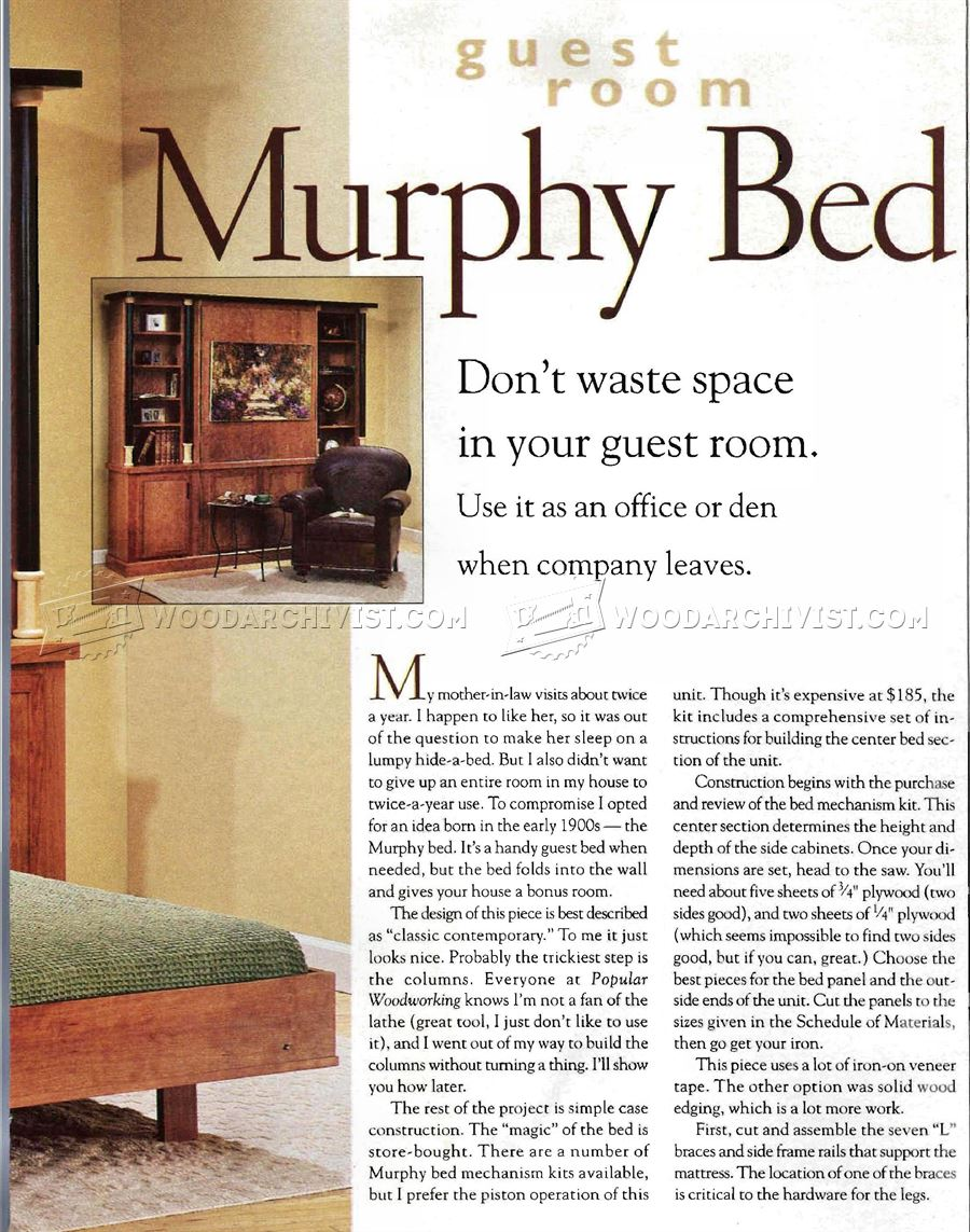 how to build a murphy bed free plans