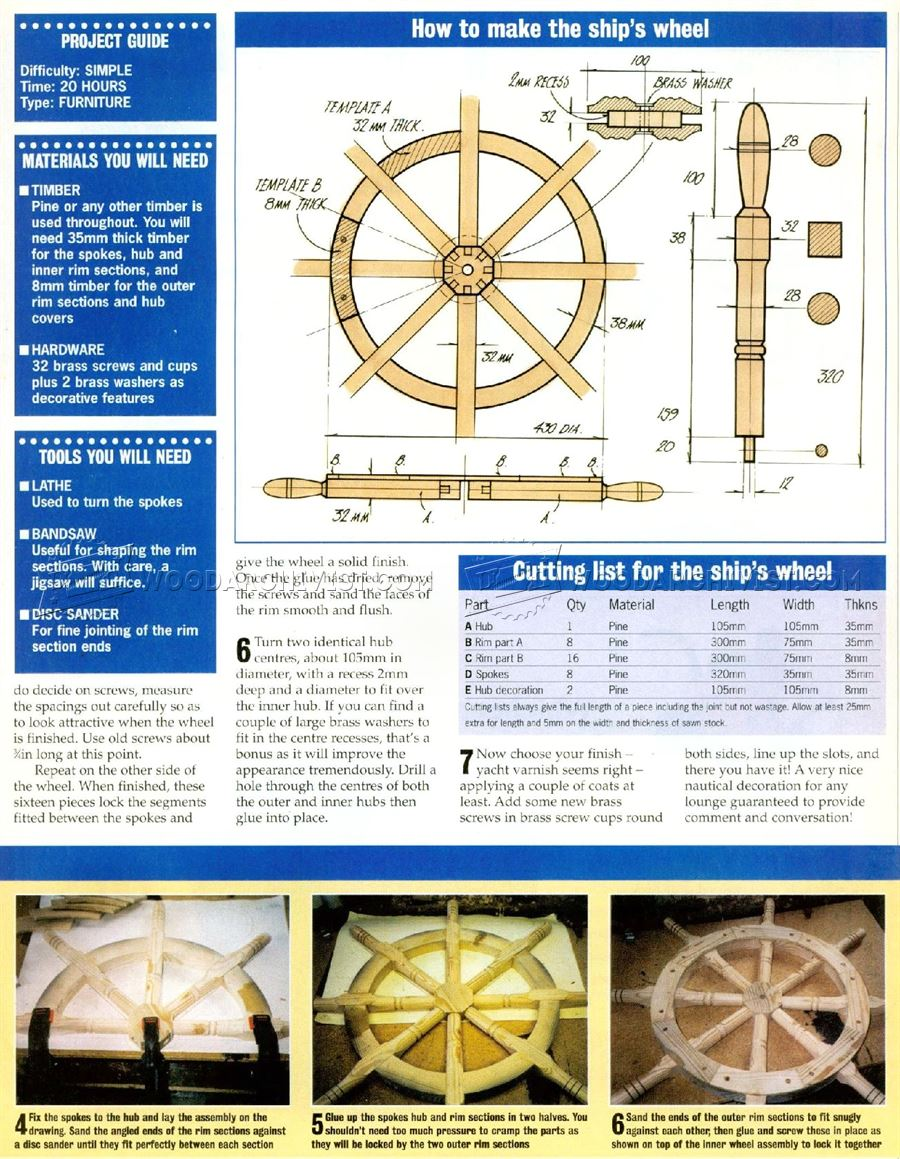 How Much To Ship Furniture Plans Ship Wheel Plans  Woodarchivist