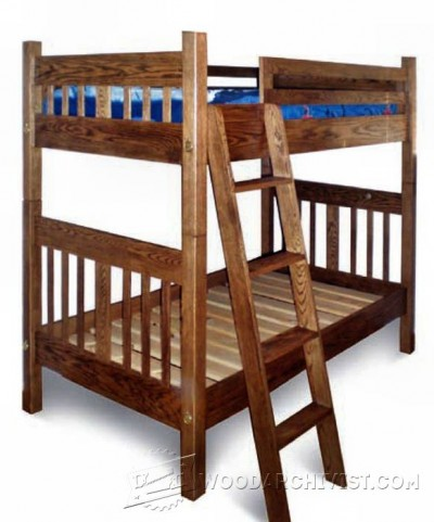 160-Mission Style Bunk Bed - Children's Furniture Plans and Projects