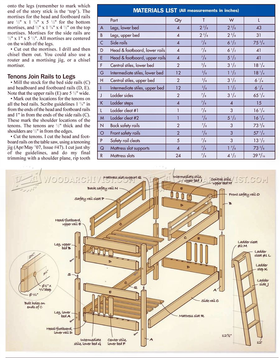mission style bunk bed plans woodarchivist