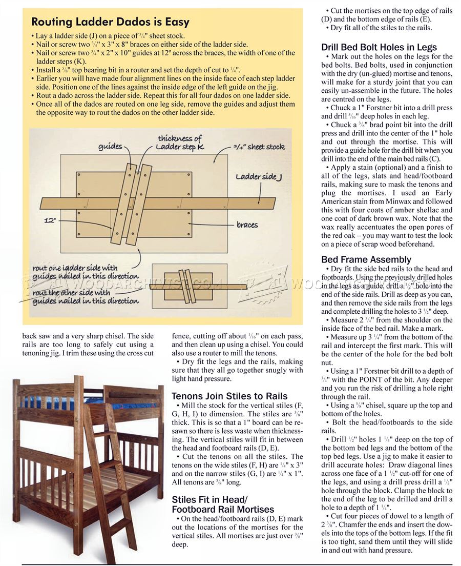 Mission style furniture plans - Mission Style Bunk Bed Plans