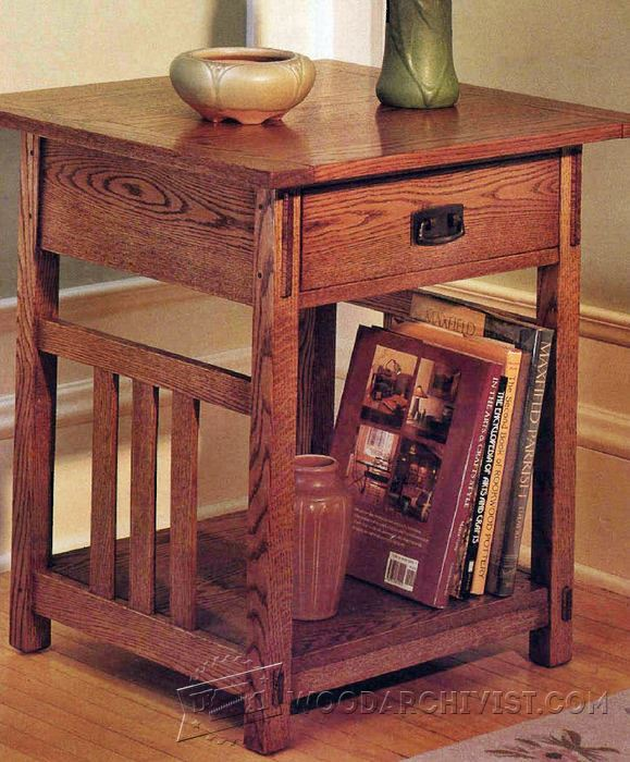Arts crafts end table plans woodarchivist for Craftsman furniture plans