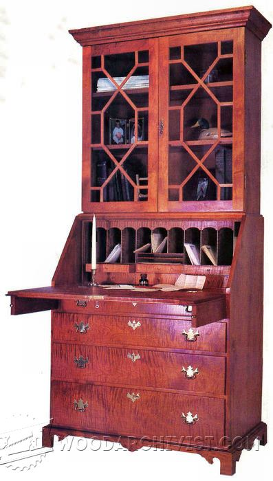 177-Chippendale Secretary Desk - Furniture Plans and Projects