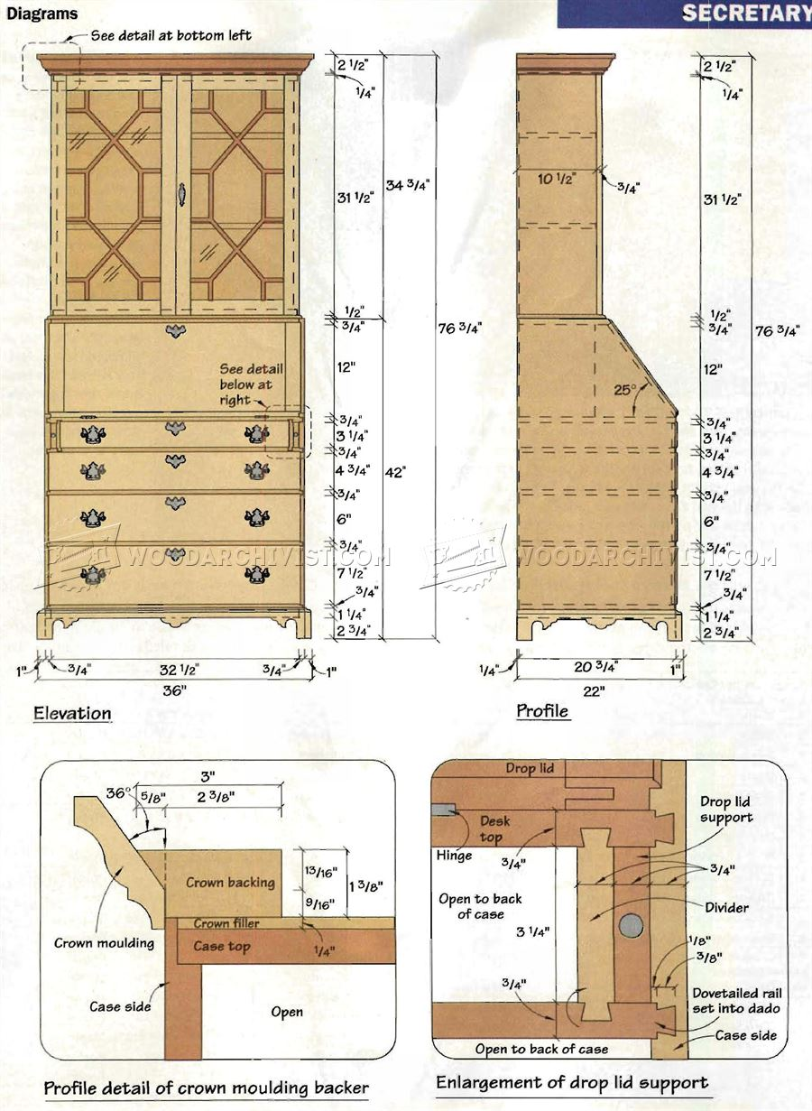 Chippendale Secretary Desk Plans