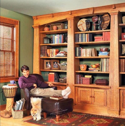 18-Mission Oak Built-In Bookcase - Furniture Plans and Projects