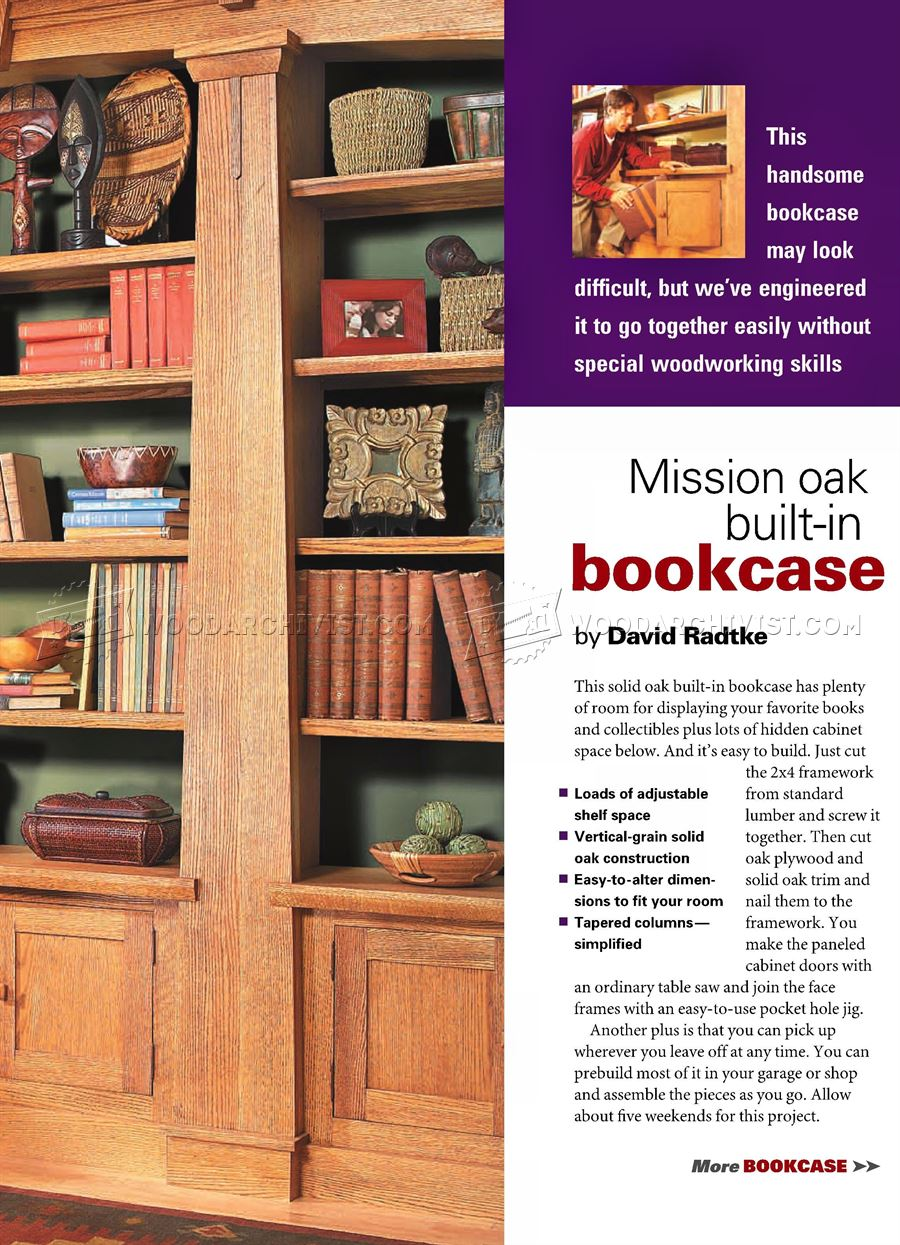 #18 Mission Oak Built-In Bookcase Plans