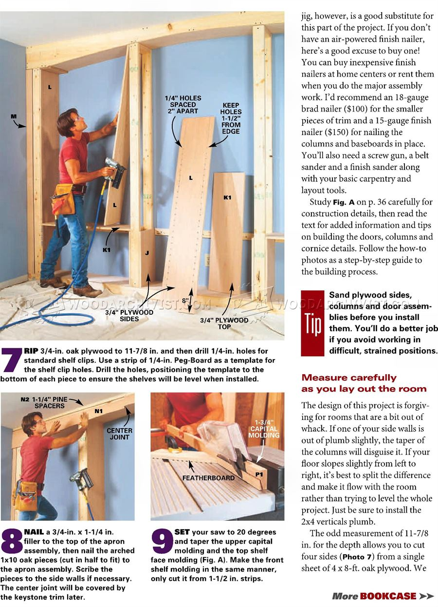 Mission Oak Built-In Bookcase Plans