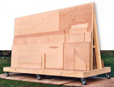 Mobile plywood storage rack plans woodarchivist for Rolling lumber cart plans