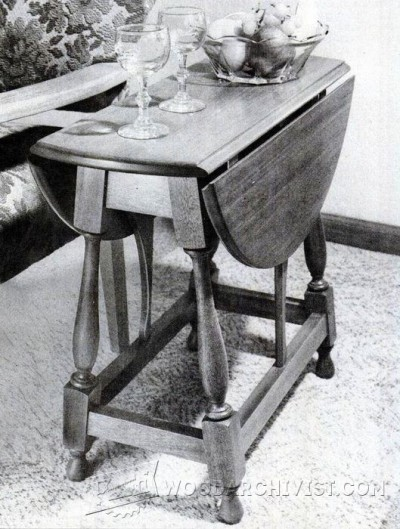 45-Colonial Drop Leaf Table - Furniture Plans and Projects