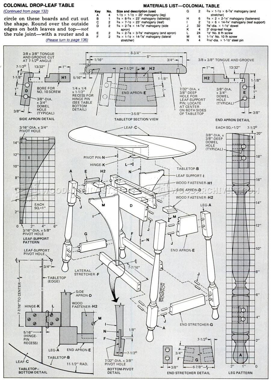Colonial Drop Leaf Table Plans Woodarchivist