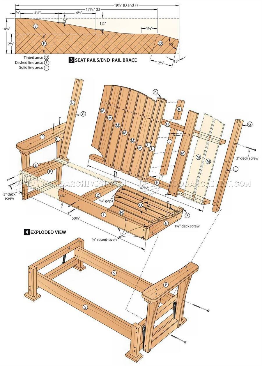 57 Glider Bench Plans - Outdoor Furniture Plans