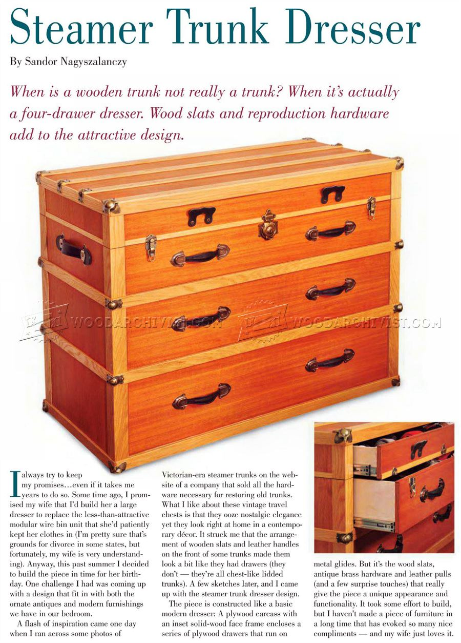 Steamer Trunk Dresser Plans