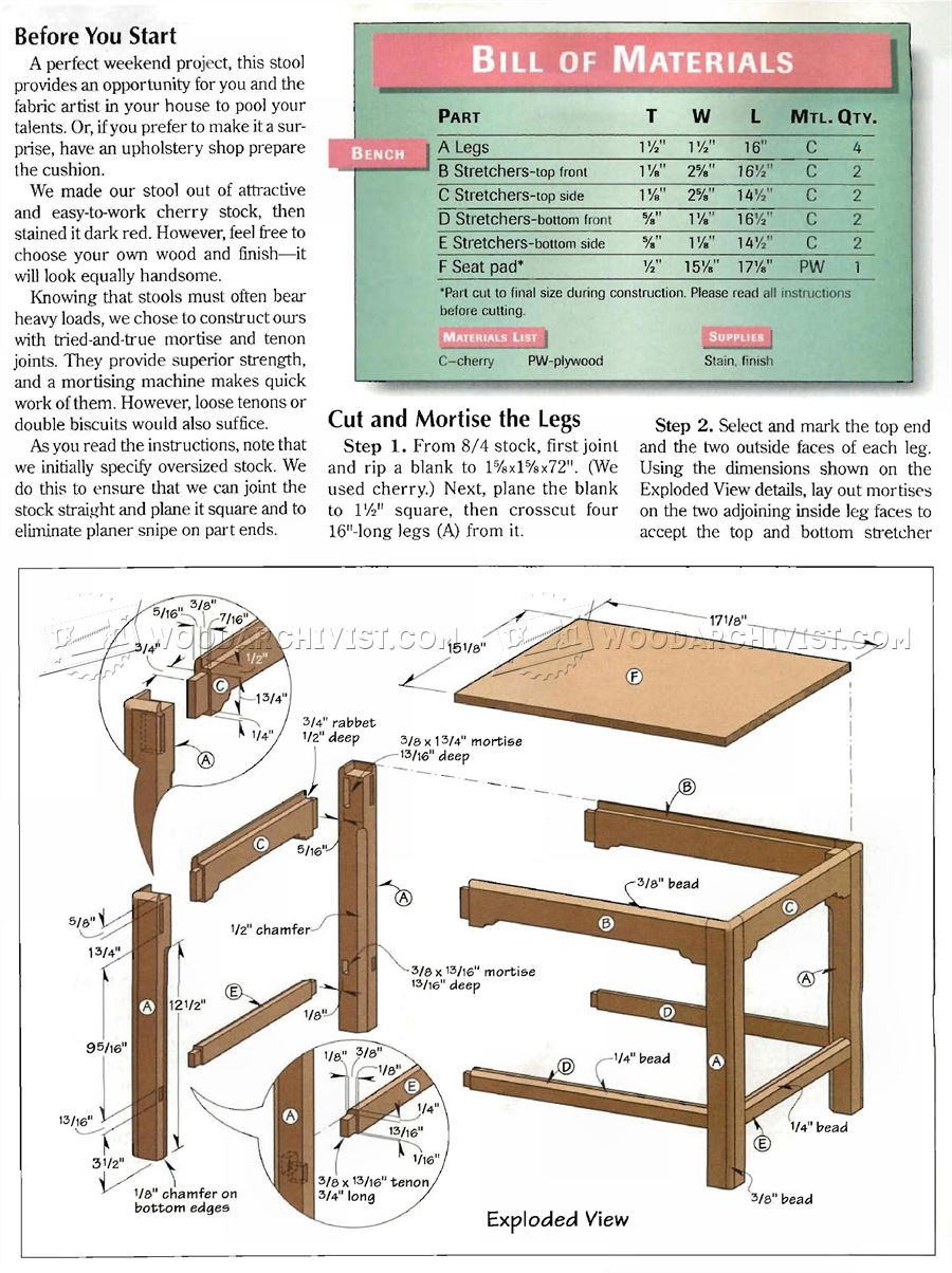 Chippendale Foot Stool Plans