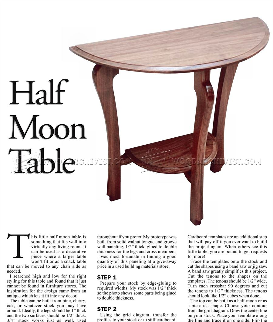Captivating Half Moon Table Plans