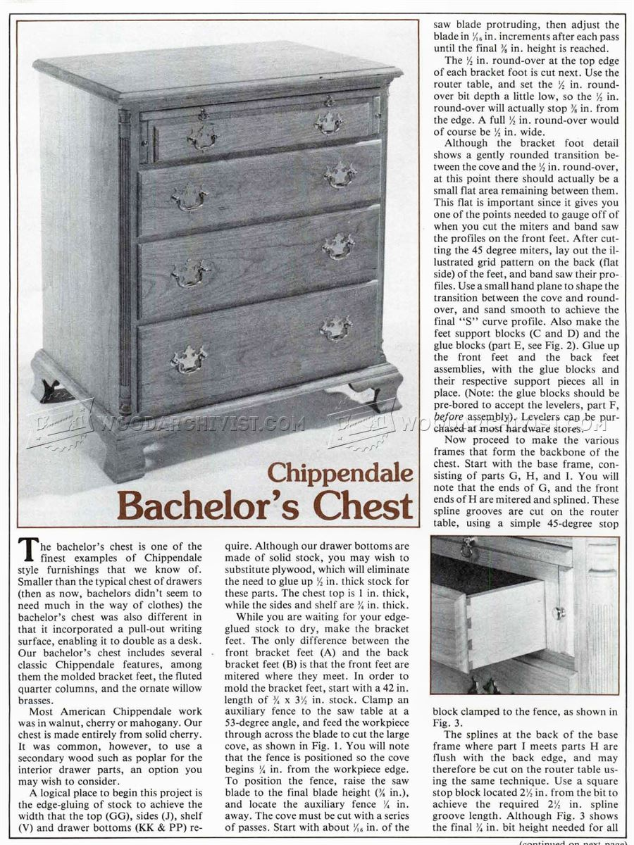 Chippendale Bachelor Chest Plans