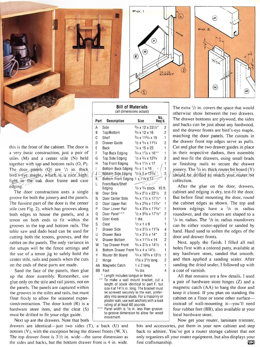 Router Storage Cabinet Plans