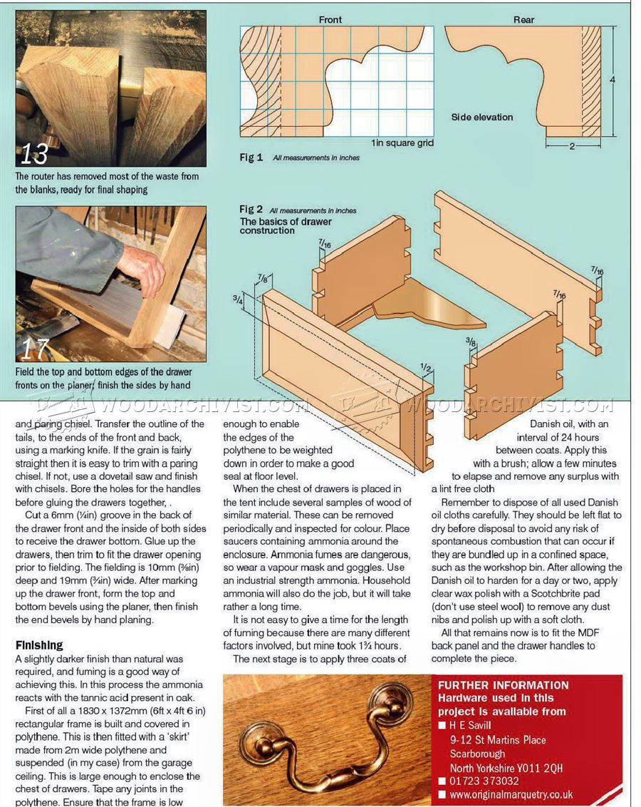 Fumed Oak Chest of Drawers Plans