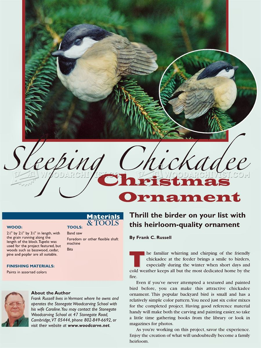 Bird Carving: Sleeping Chickadee