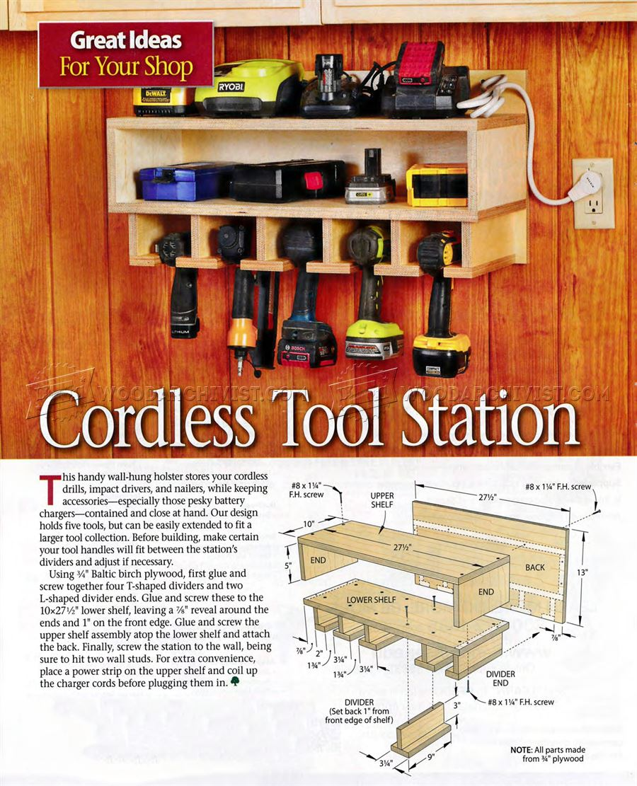 210 Cordless Tool Station Plans - Workshop Solutions