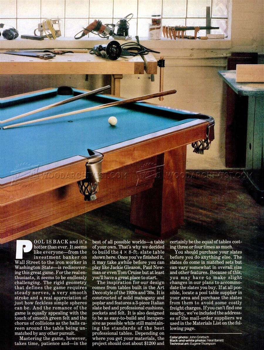 Pool Table Plans - Woodworking Plans
