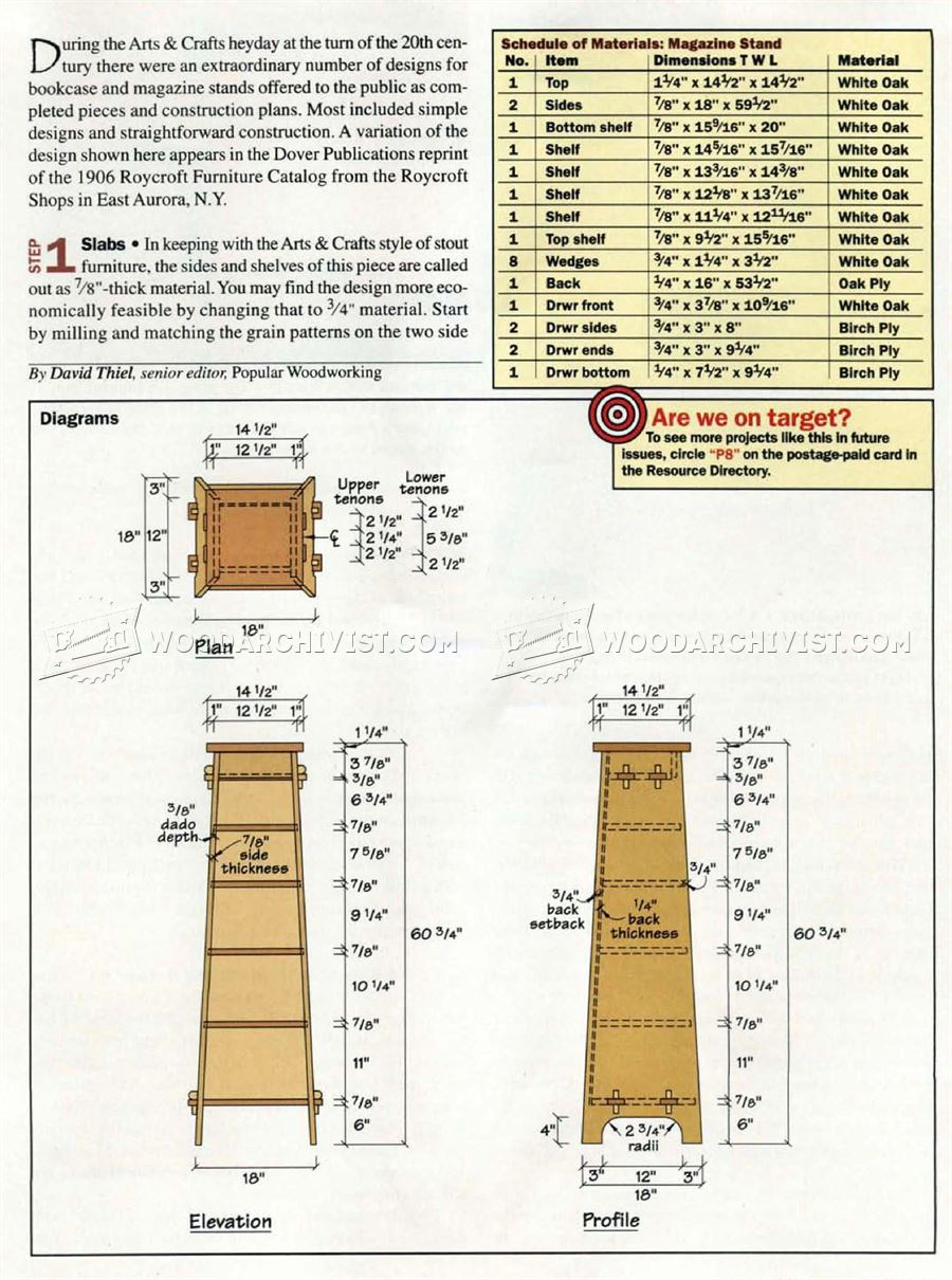 Arts & Crafts Stand Bookcase Plans