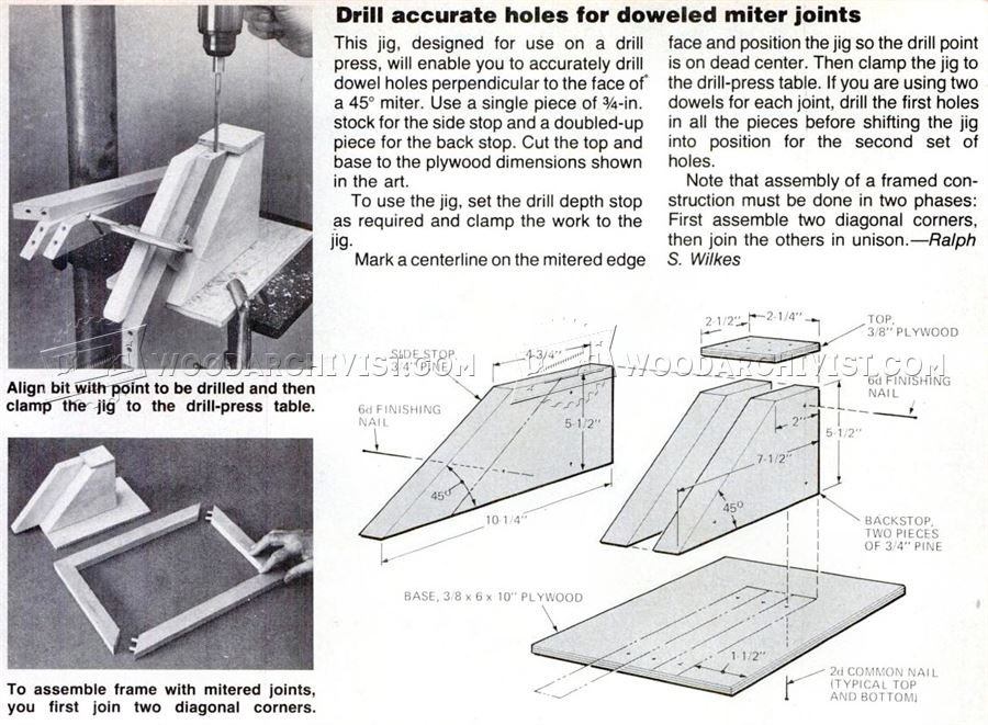 Dowel Miter Joint Jig Woodarchivist
