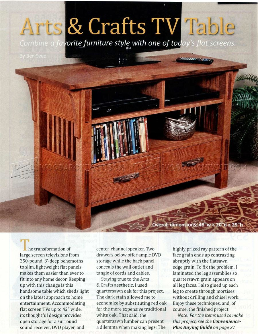 Arts crafts tv stand plans woodarchivist for Craftsman furniture plans