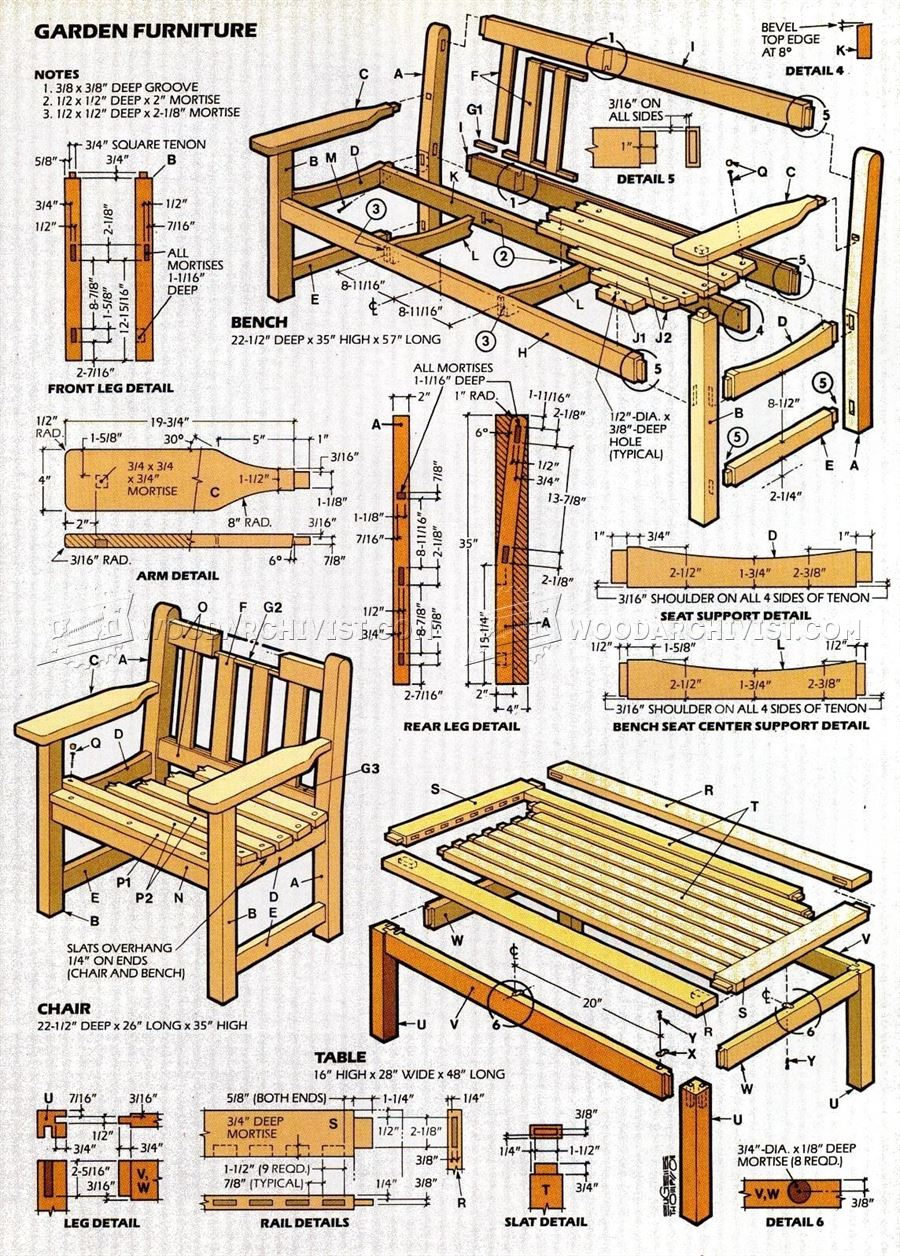 English garden furniture plans woodarchivist for Patio furniture designs plans