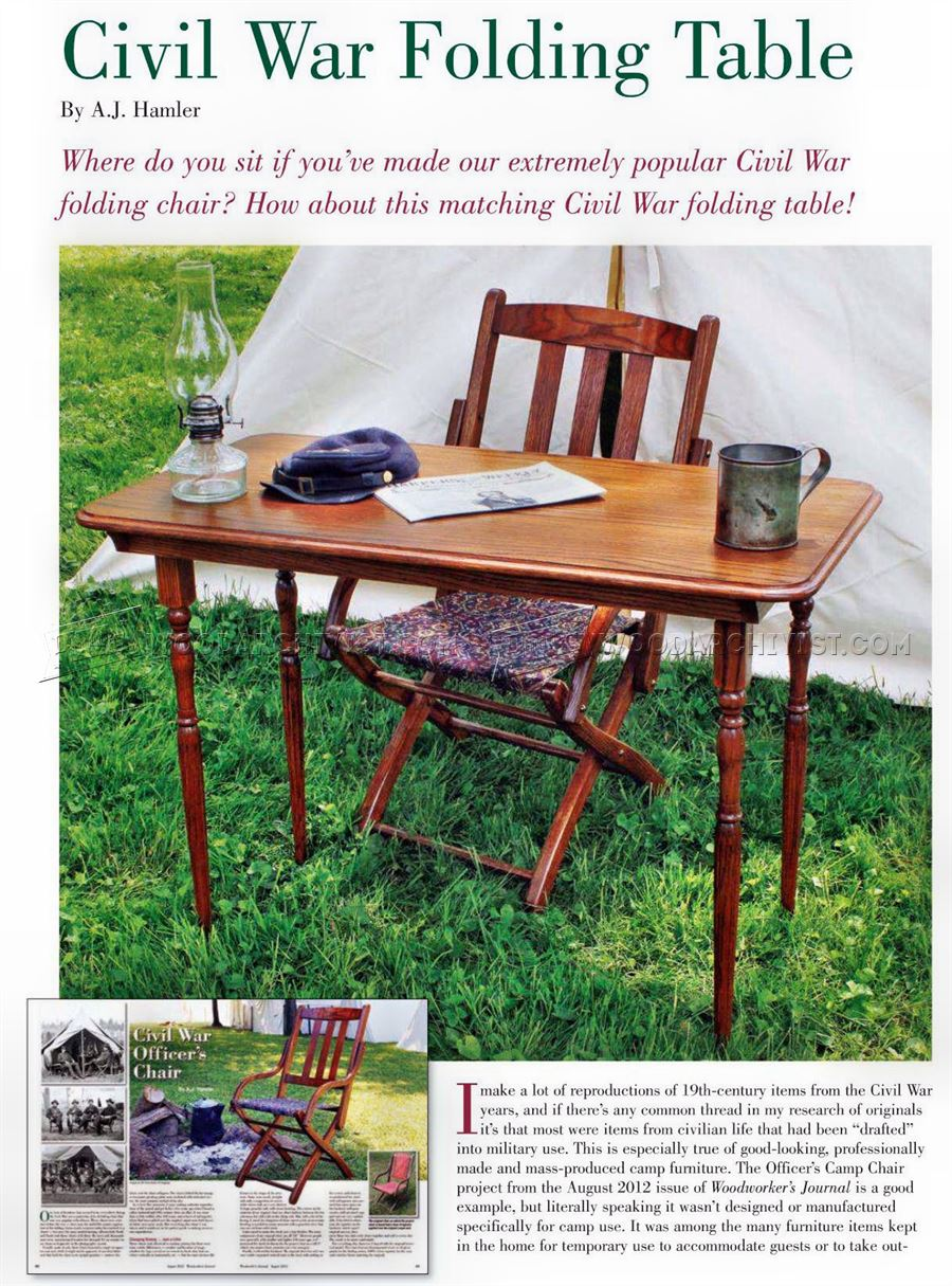 Civil War Folding Table Plans