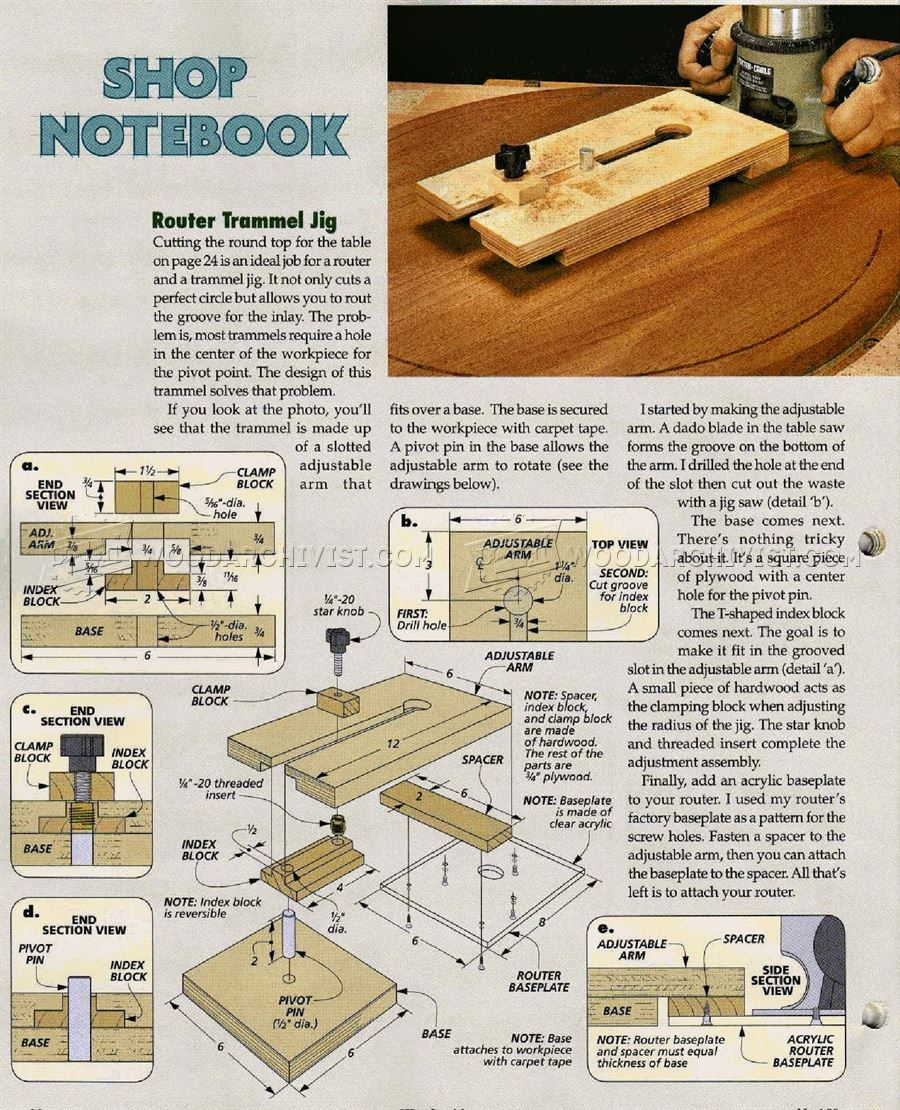 Router Trammel Jig Plans