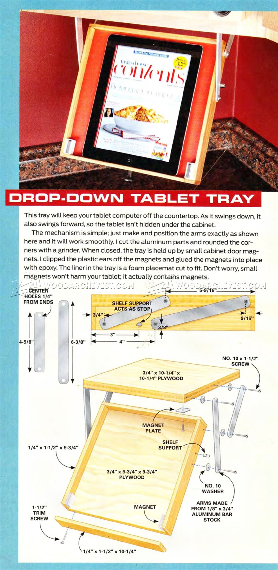 Drop-Down Tablet Tray Plans