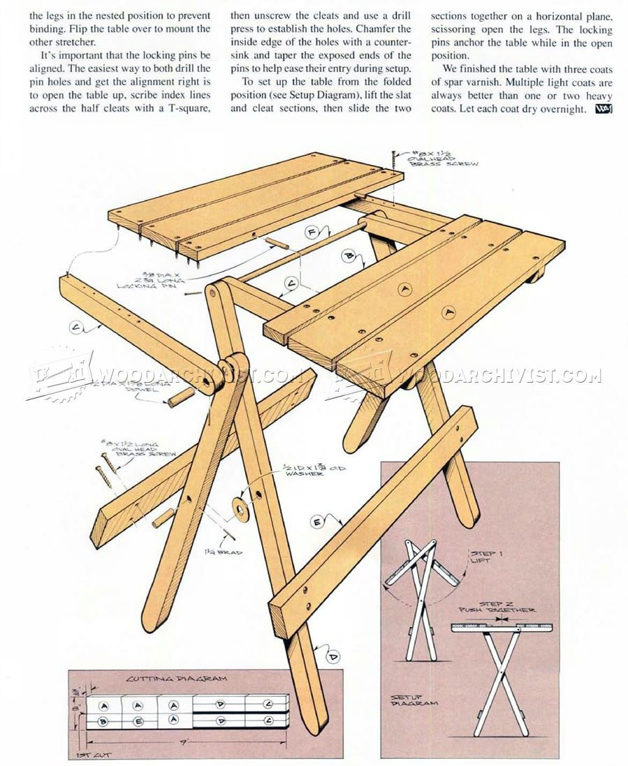 folding table plans woodarchivist