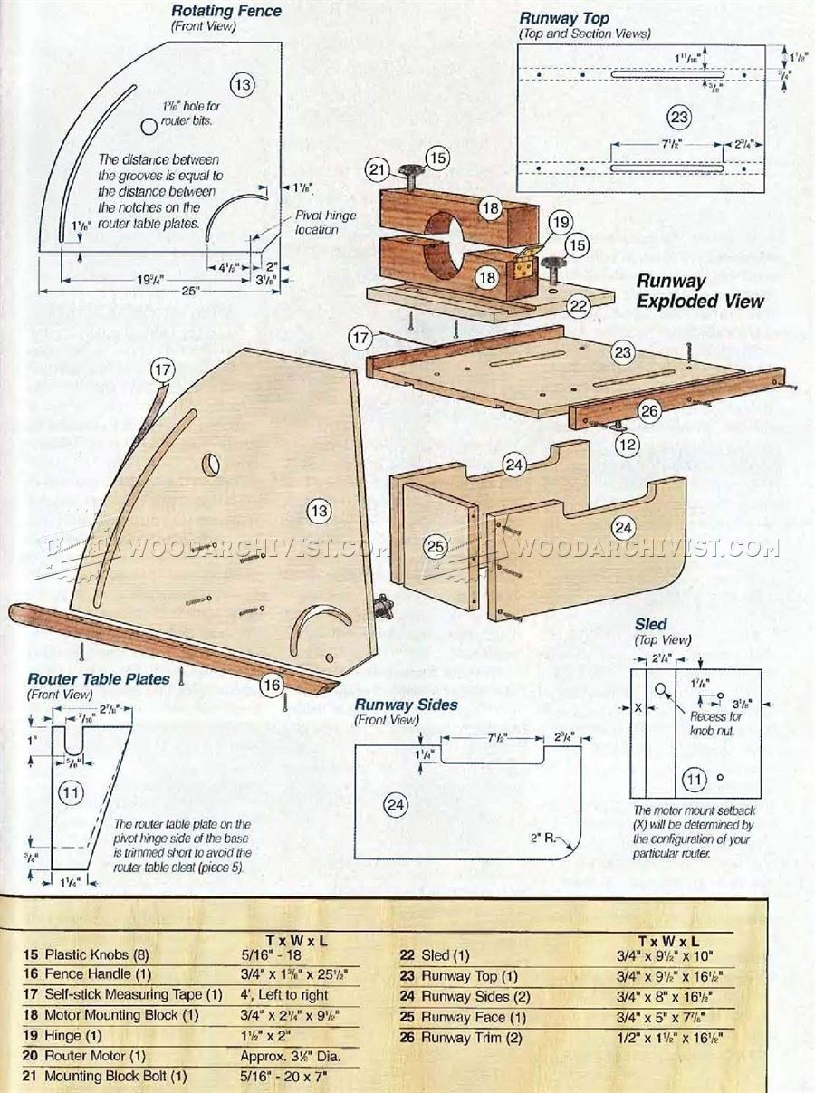 horizontal router table plans woodarchivist