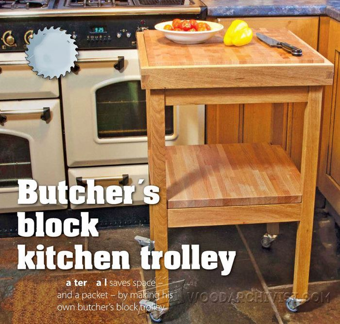 butchers block kitchen trolley plans woodarchivist