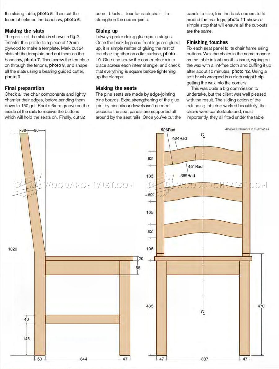 Dining Room Chair Blueprints