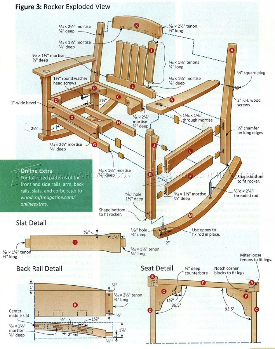 arts crafts rocking chair plan woodarchivist. Black Bedroom Furniture Sets. Home Design Ideas