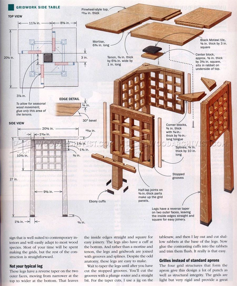Gridwork Side Table Plans