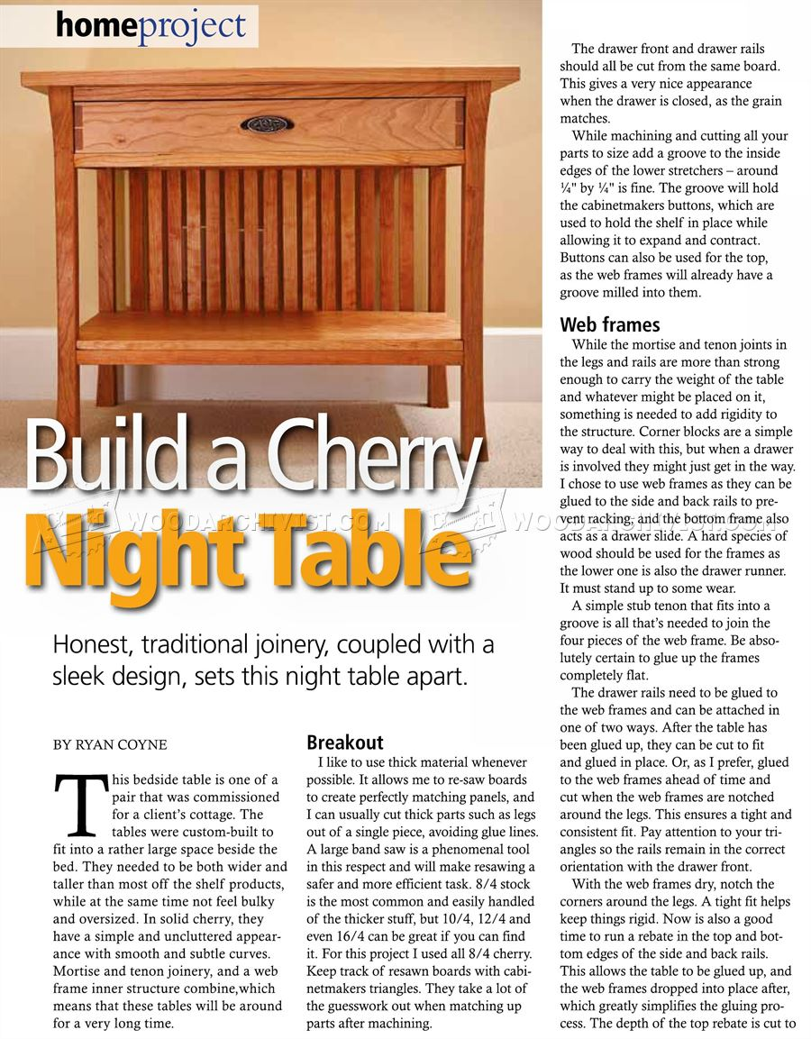 Cherry Bedside Table Plans