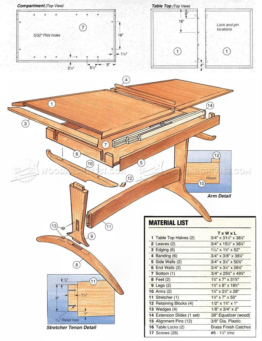 Dining room table plans woodarchivist for Breakfast table plans