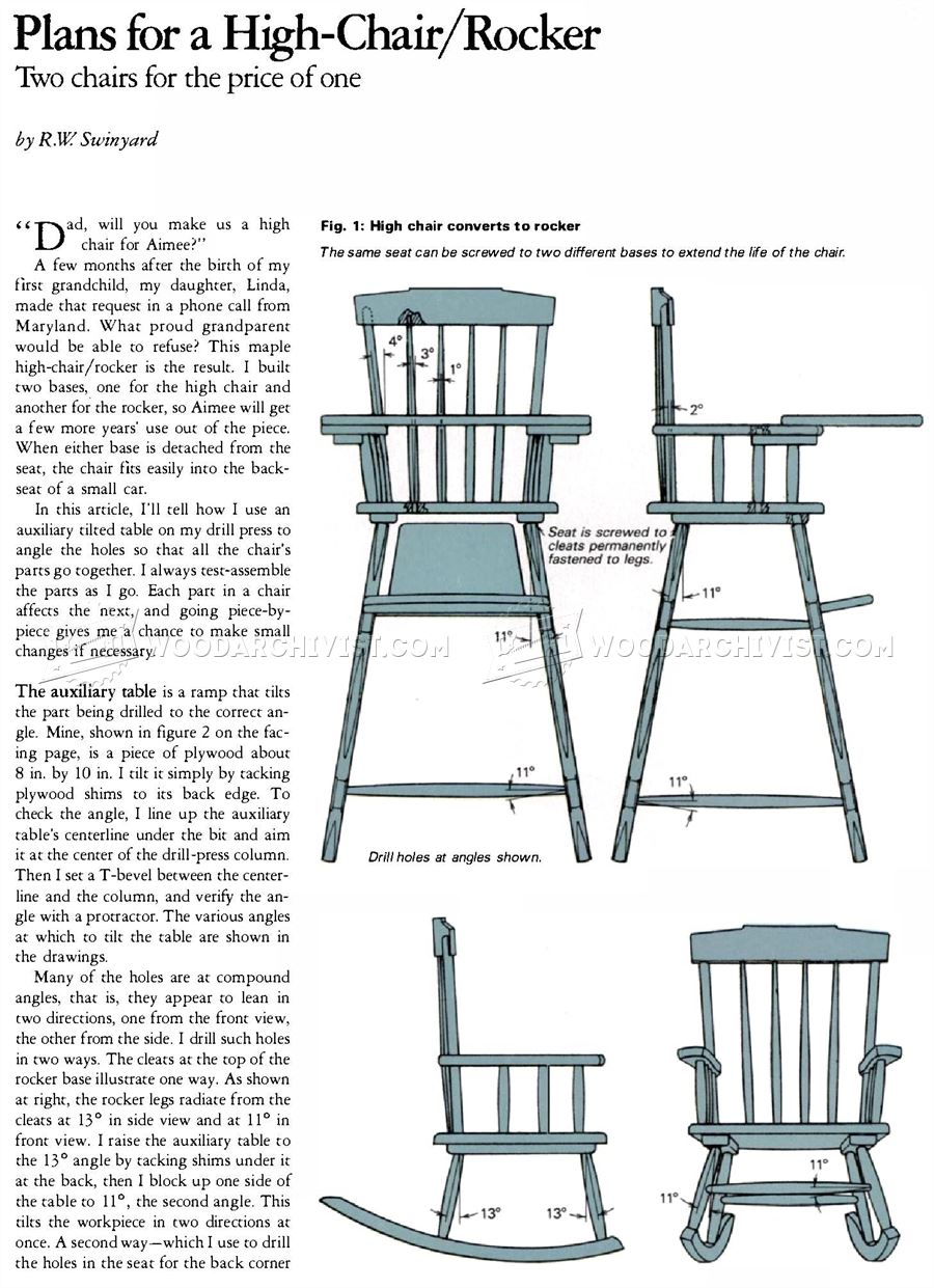 Rocker and High Chair Plans