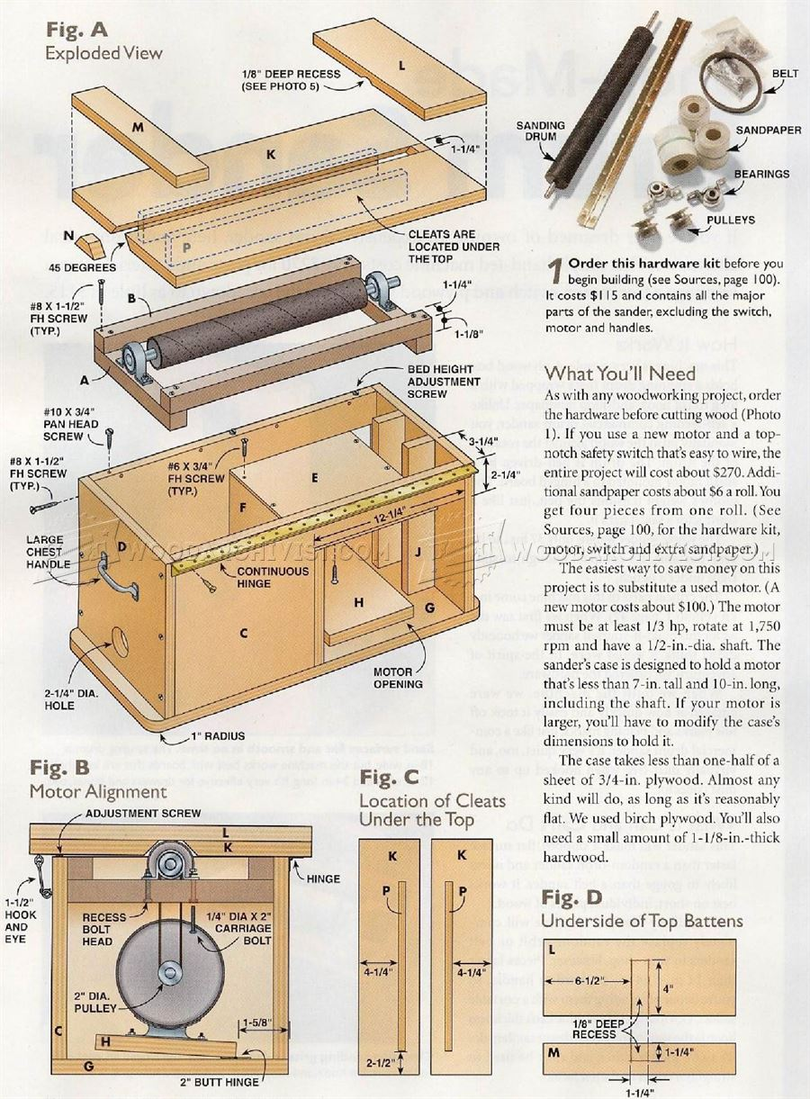 Drum Sander Plans • WoodArchivist