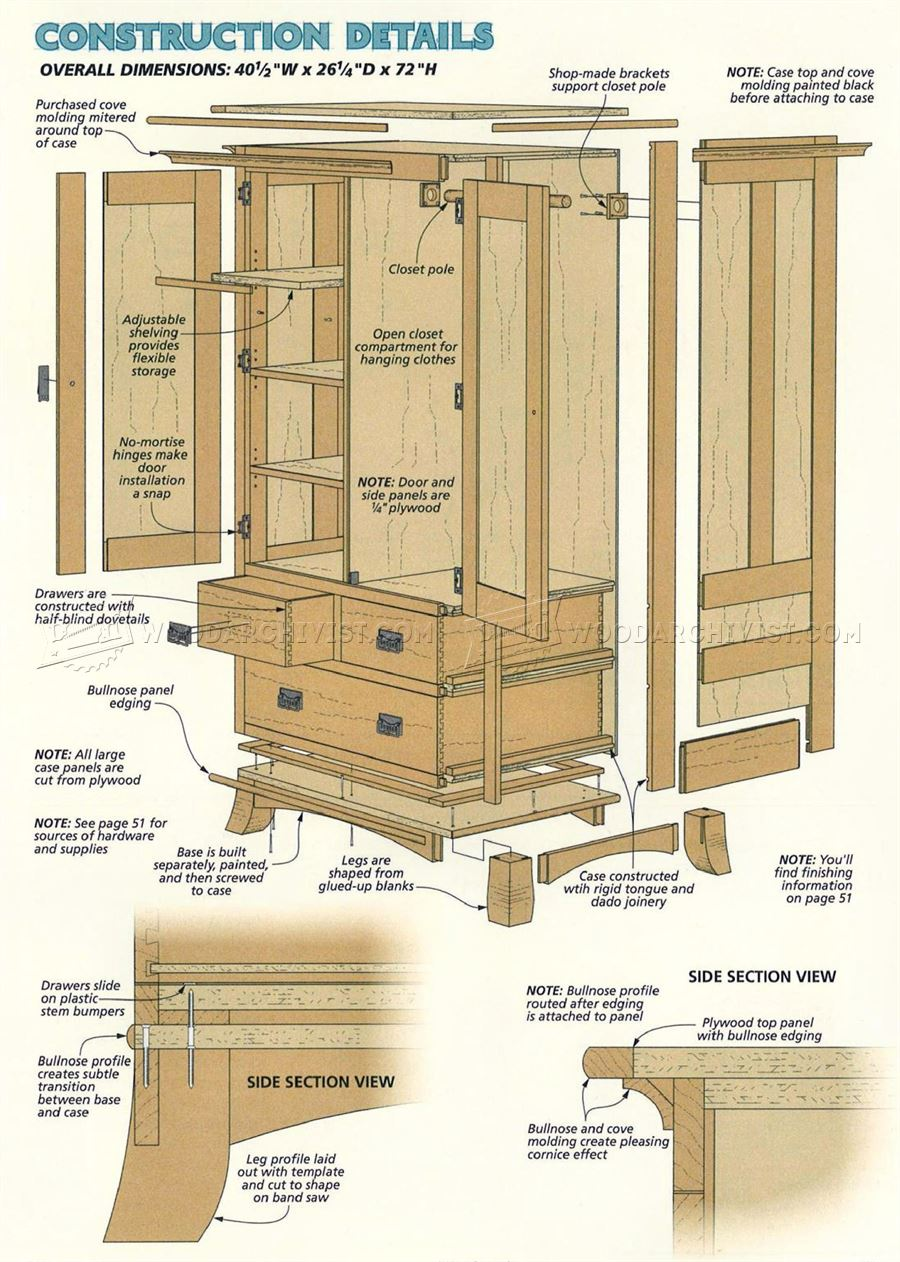 Cherry armoire plans woodarchivist for Wardrobe cabinet design woodworking plans
