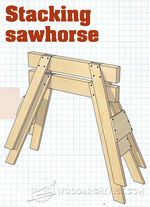 Stacking Sawhorse Plans Woodarchivist
