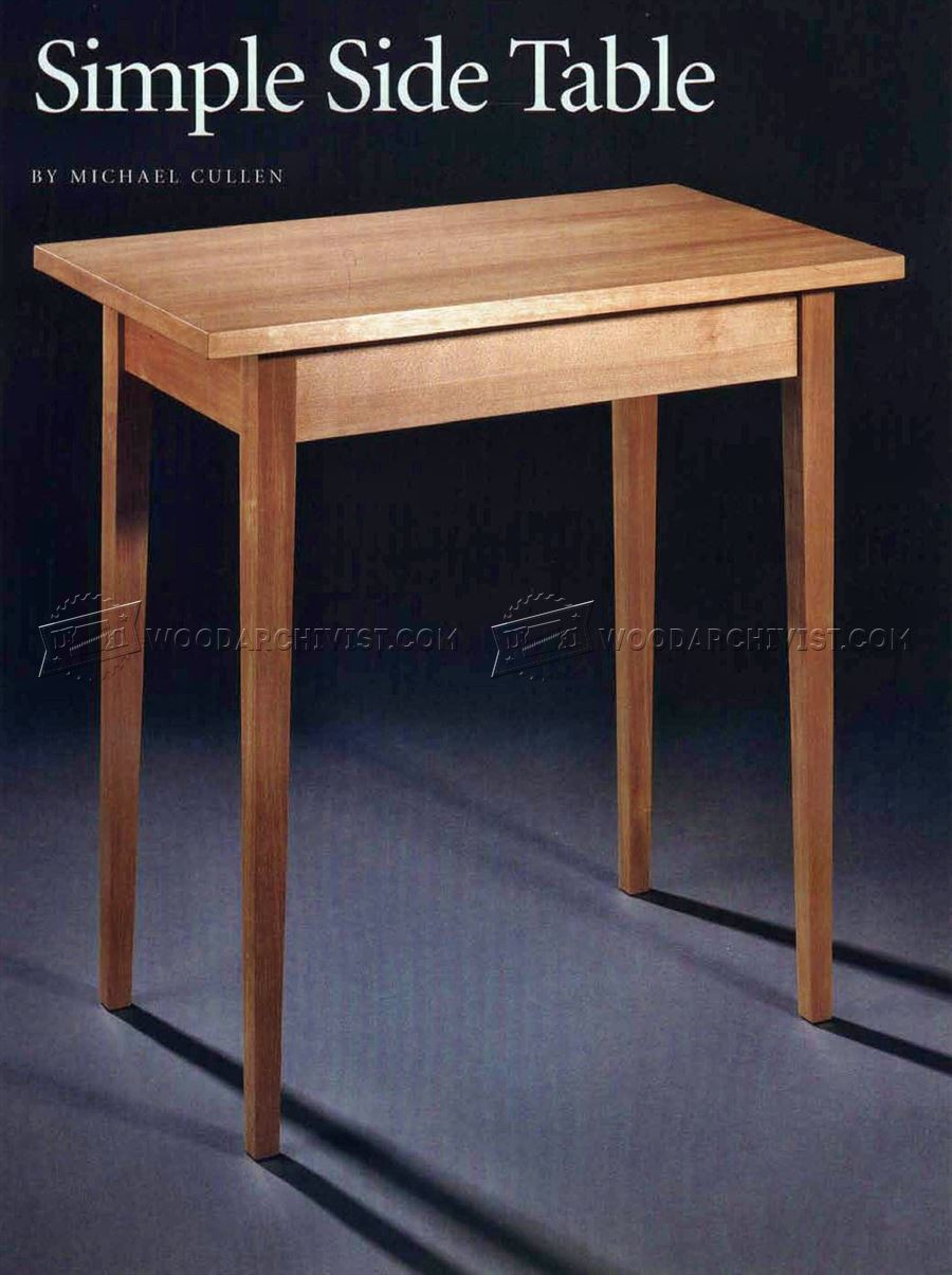 Simple side table plans woodarchivist for Side table plans