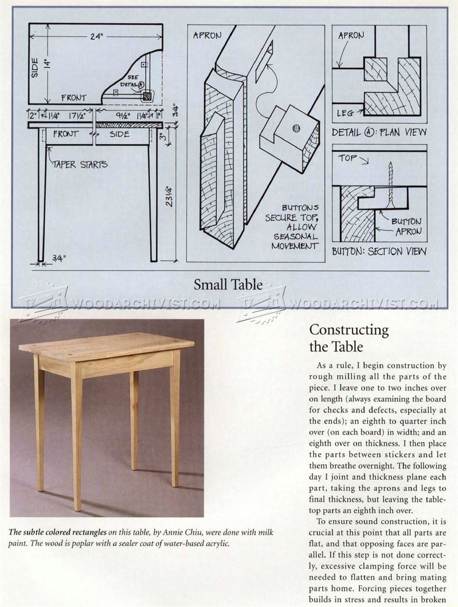 Simple side table plans woodarchivist for Table design plans